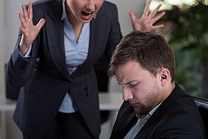 an employee of a company being yelled at by his boss who is exhibiting whistleblower retaliation since he exposed company illegality