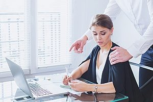 a woman in the workplace who is being harassed and will file a quid pro quo sexual harassment case