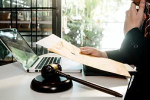 Employment law attorney at desk