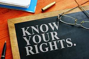 Know your rights sign. You are a victim of unlawful detainment by a citizen, if you were detained for more than 1 hour