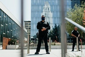 Policeman Securing the Building