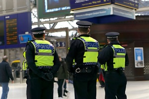 police officer on duty on a city centre during special event