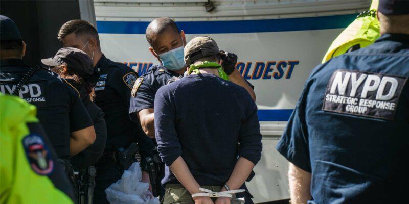 a police officer arresting a whistleblower in retaliation
