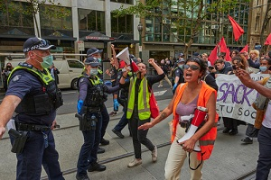protesting through out melbourne streets
